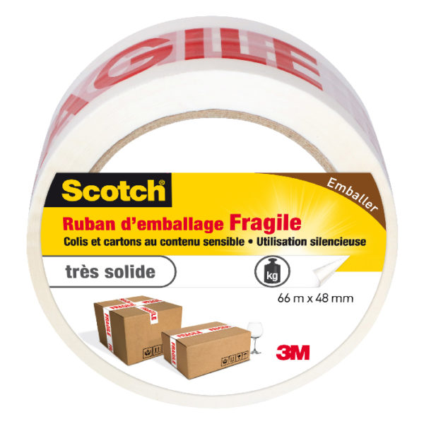 "Scotch® Ruban d'Emballage imprimé ""Fragile"" 66m x 48mm"